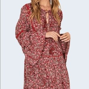 Amuse Society Burgundy Floral Dress Boho